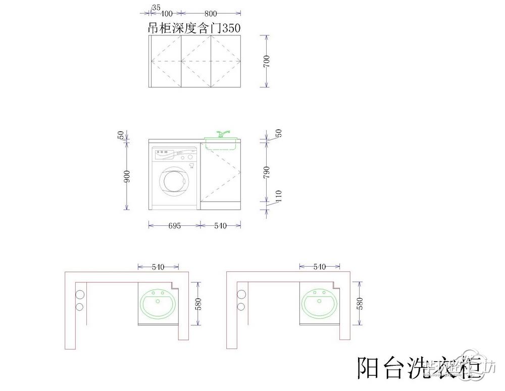 洗衣柜设计图,吊柜也少不了,能装柜子的地方全部装上柜子