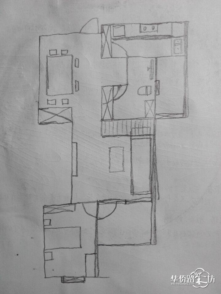 手绘厨房卫生间装修设计图