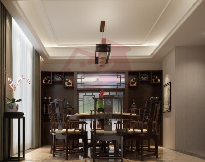 夷绿洲沁荷苑309平独栋别墅新中式风格装修效果图