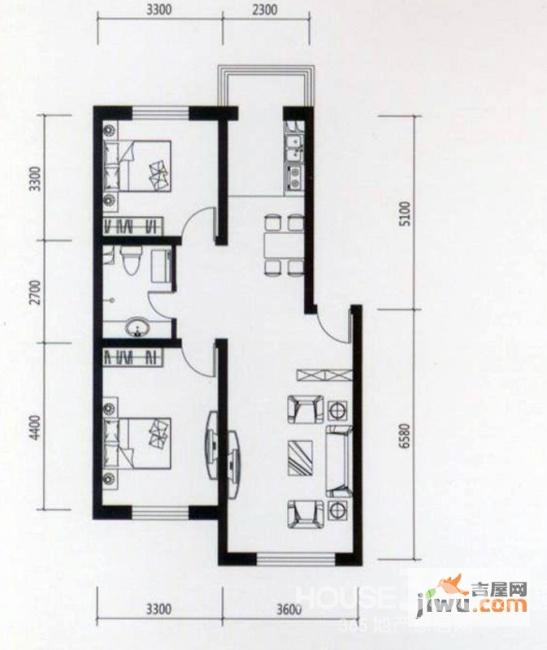 两房一厅房屋设计图展示