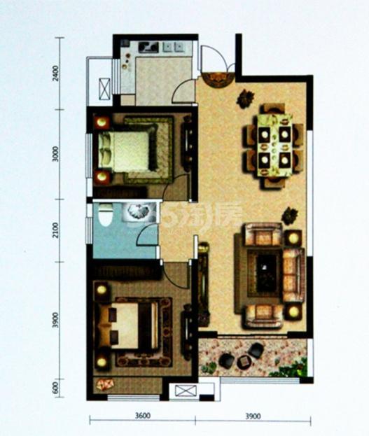 天丰东环广场E1/E2/F1/F2户型图 二室二厅一卫94�O