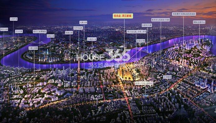 佳兆业滨江新城夜景效果图