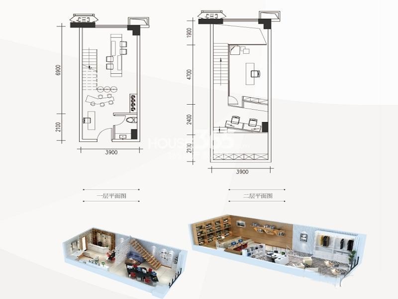南飞鸿广场A2户型一室一厅一卫 47.00㎡