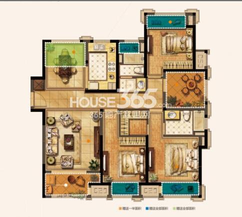 无锡圆融广场E户型130平3+1房户型图