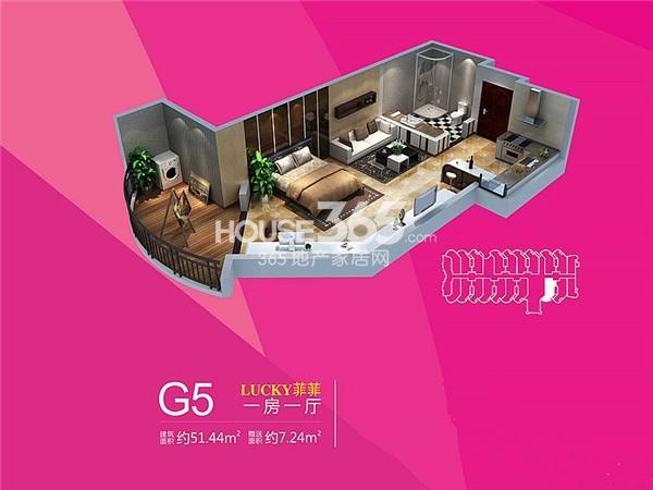 雅居乐铂琅峯G5户型一室一厅一卫51.44㎡