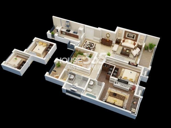 佳兆业广场C户型约123平四室两厅两卫(小高层)