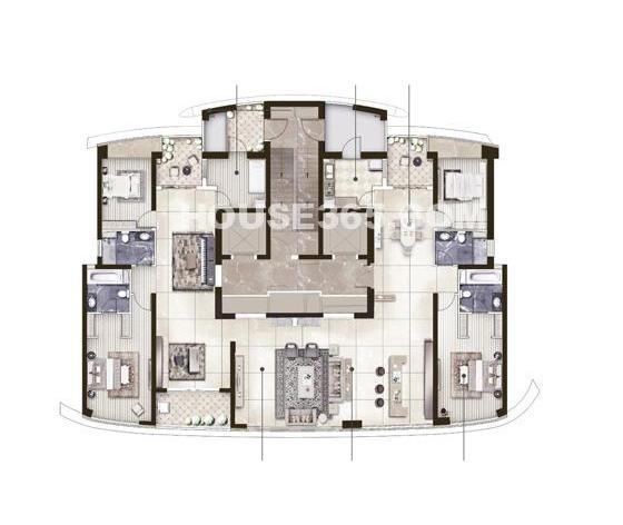 保利达江湾城11E户型334.61平户型图