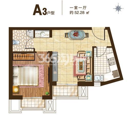 A3户型 1室1厅1卫 52.28㎡