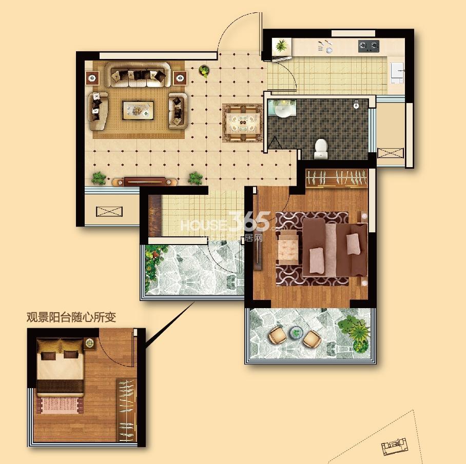 电建地产海赋尚城一期标准层68平方米 1+1室2厅1卫 A1户型