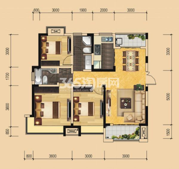 B6#绿地世纪城柏仕公馆 三室一厅一厨两卫 114.64㎡