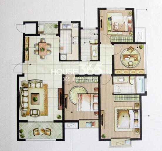 星榈湾D户型三室两厅两卫134-139㎡