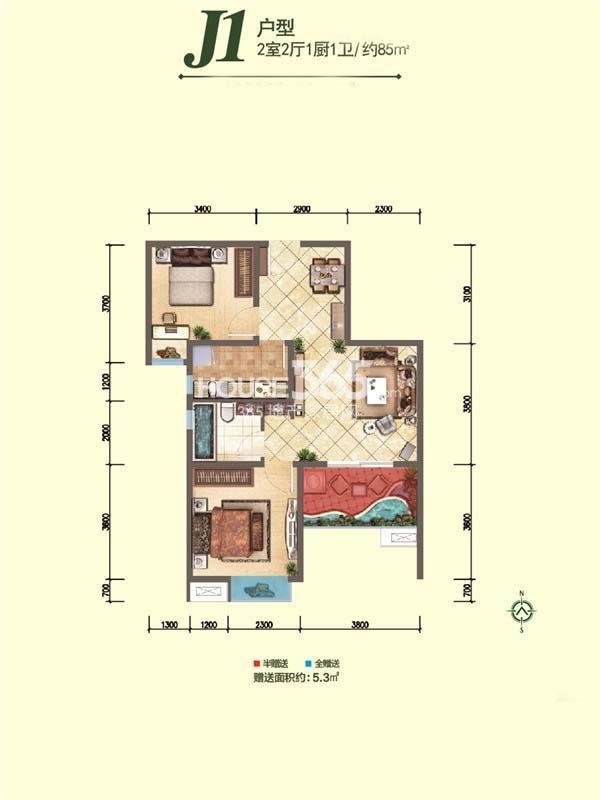 融尚中央住区8#楼J1户型两室两厅一厨一卫85㎡
