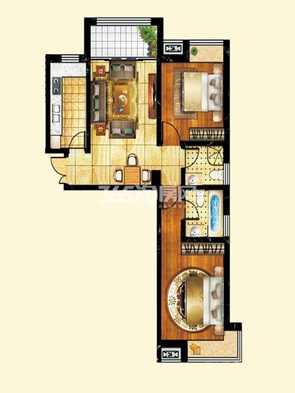 薇乐如意园户型图六号楼两室两 面积 95.95㎡ 2室2厅1卫1厨
