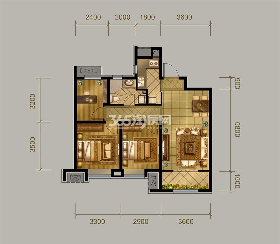 高层B户型  3室2厅1卫 98㎡(售完)
