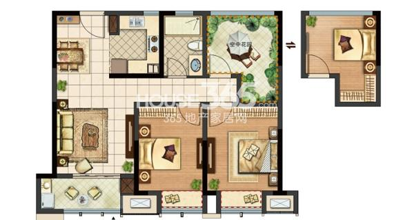 新城郡未来A2户型103㎡可改造成三房两厅一卫