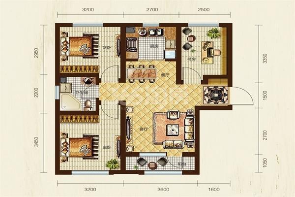 A户型, 3室2厅1卫, 约93.00平米
