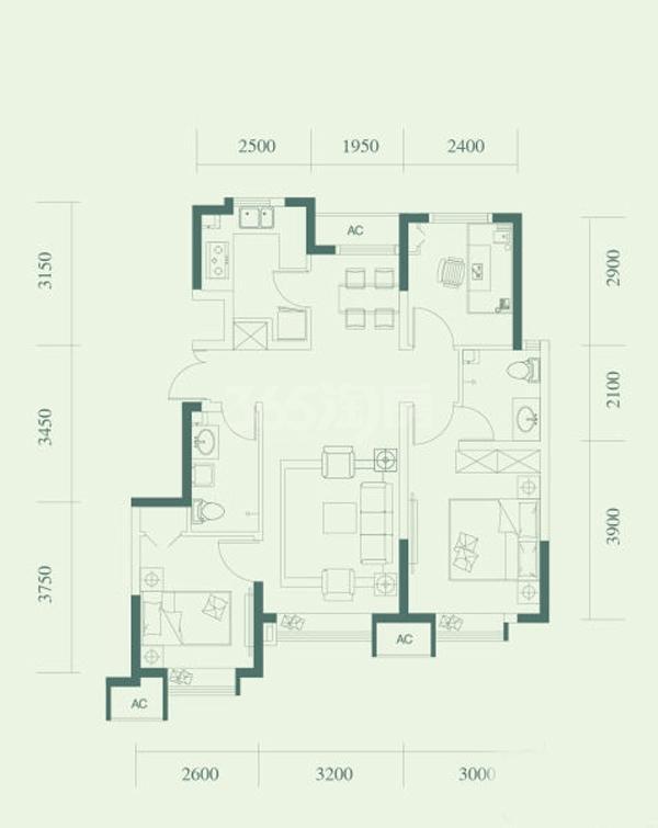 A2户型, 3室2厅2卫, 约90.00平