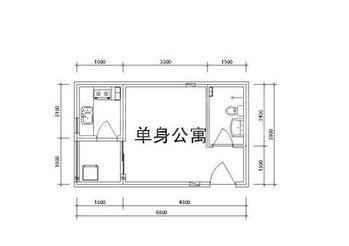雅逸新城二期4#/5#楼D户型1室1厅1厨1卫31.88㎡