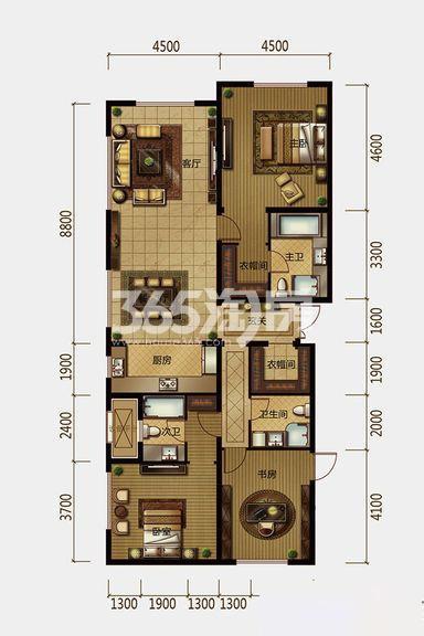 二期公寓8#楼188平米户型 3室2厅3卫