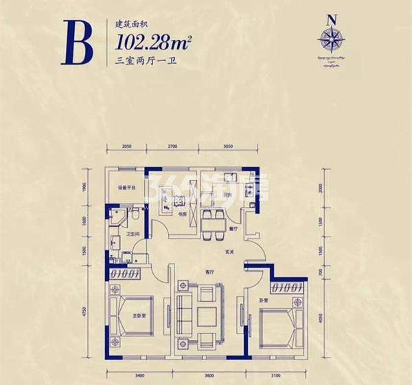 公寓A户型 3室2厅1卫 102.28平米