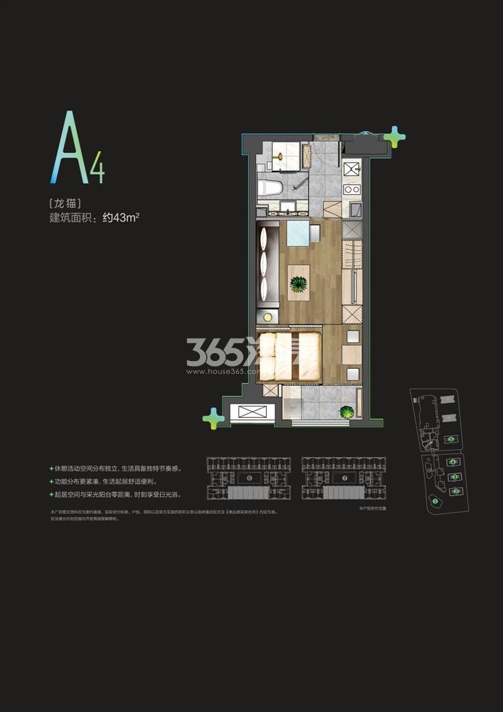雨花客厅公寓43㎡户型图