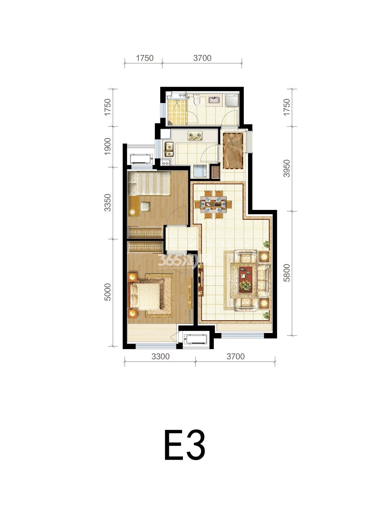 三期E3户型两室两厅 85平米
