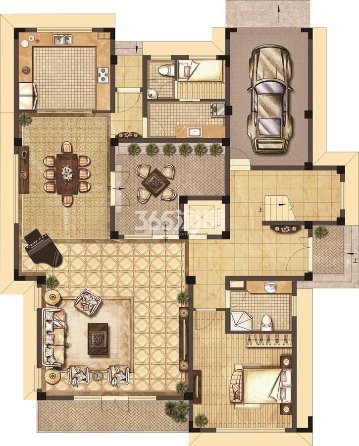武夷绿洲沁荷苑H6一层平面图