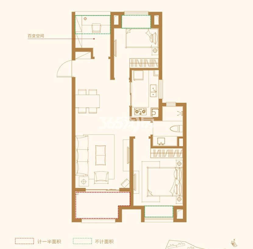 万科碧桂园户型图89㎡ 3房2厅1卫