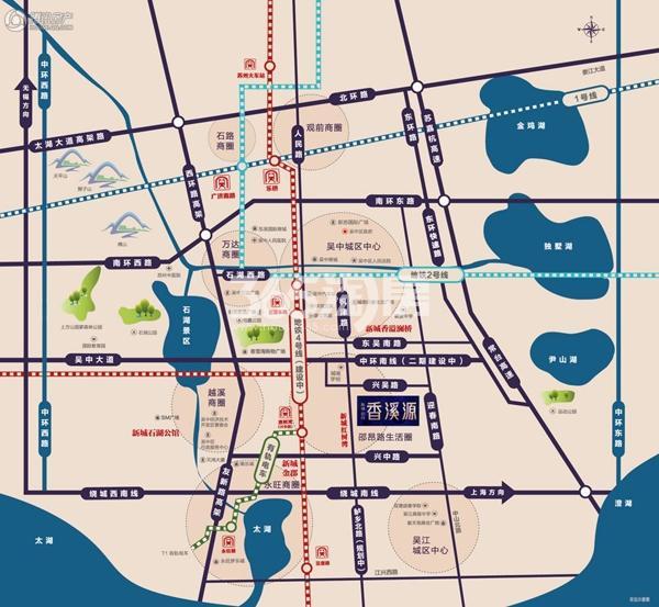 新城招商香溪源交通区位图