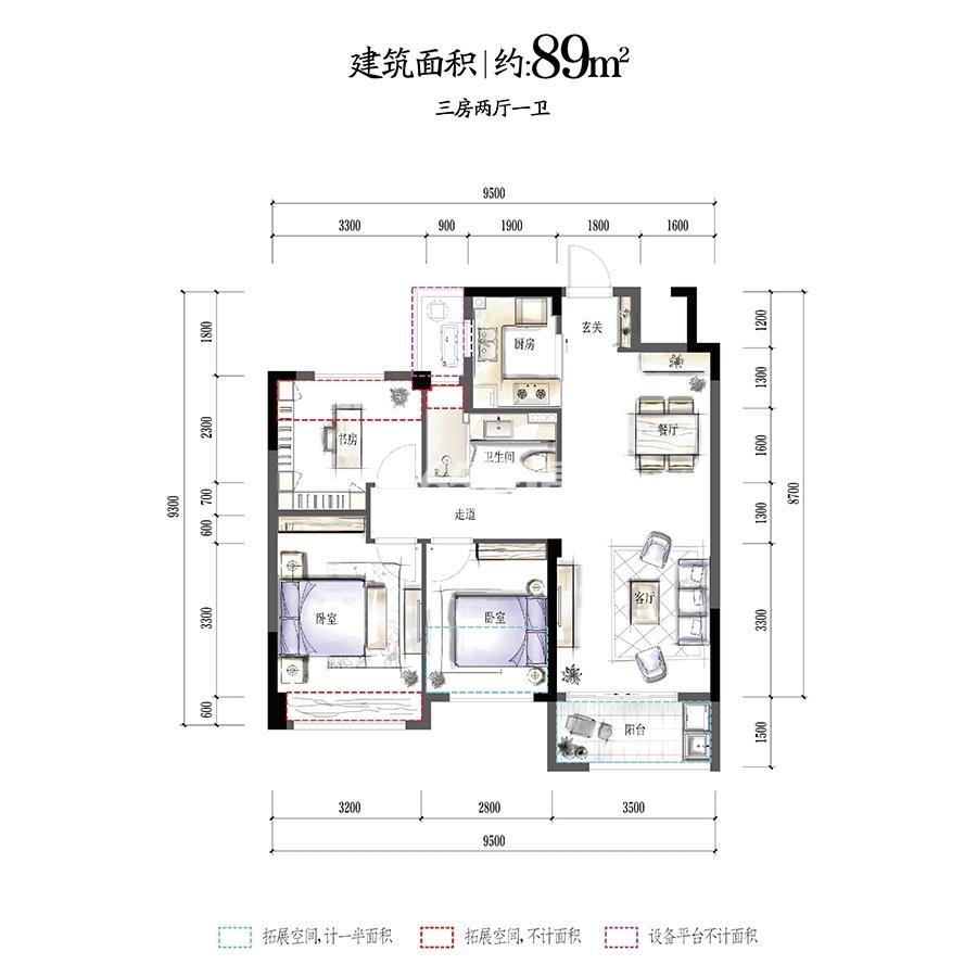 华夏四季高层21、26号楼F1户型89方三房两厅一卫