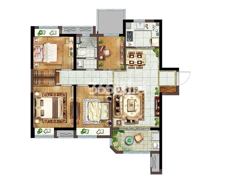 融侨悦城B户型109㎡四房两厅一卫