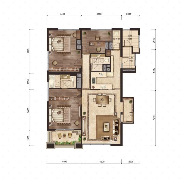 3号楼-1号室 211平米 3室2厅2卫