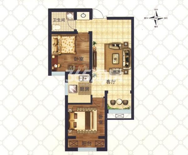 D4户型 两室一厅一卫一厨 建筑面积约71.57㎡