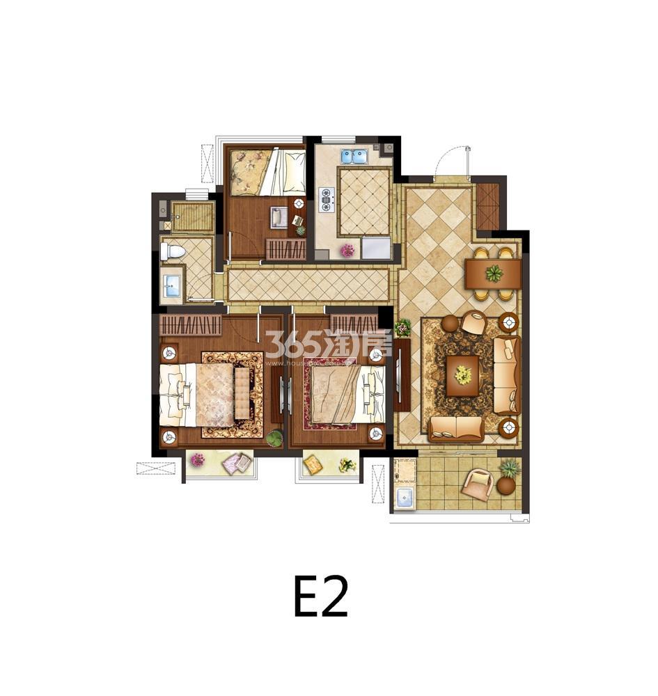 银城东岳府4号楼E2户型图96㎡