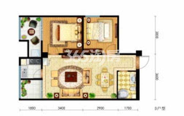 御笔城市广场两室两厅一卫77平米