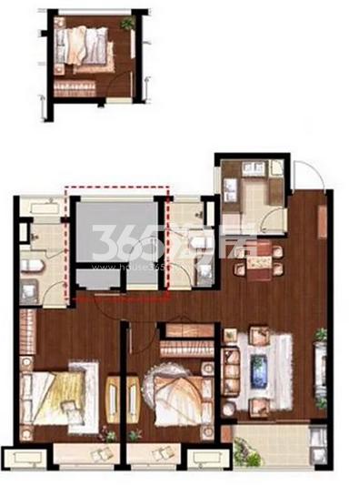 万科魅力花园103平户型 3室2厅2卫1厨