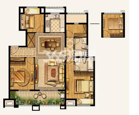 湾上风华A华庭户型 4室2厅2卫0厨 126.00平米