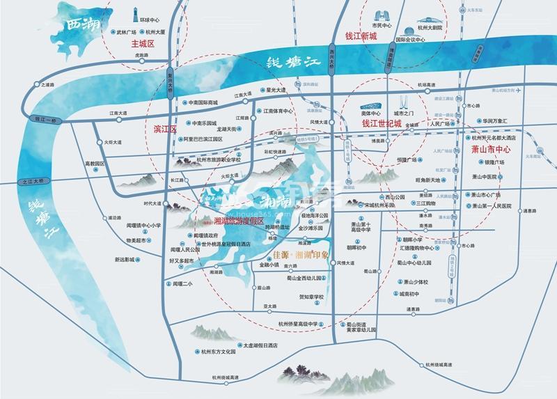佳源湘湖印象交通图