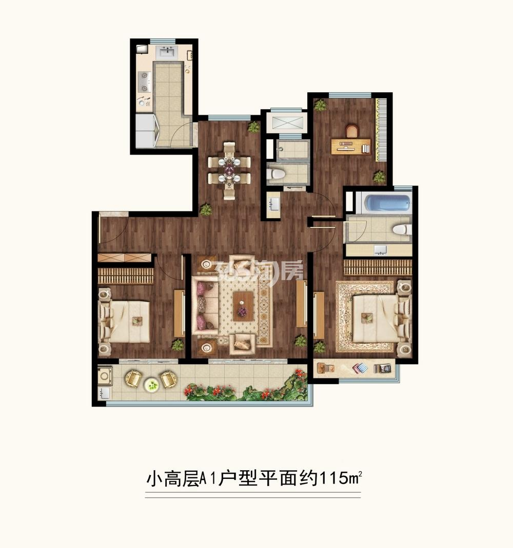 中海凤凰熙岸三期小高层约115平A1户型