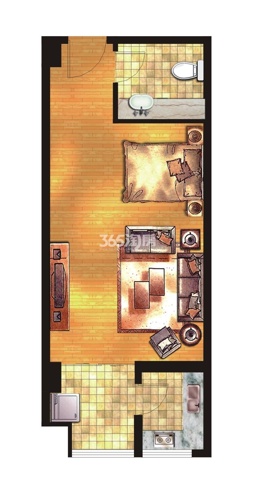 荣华碧水蓝庭公寓57㎡一房一厅