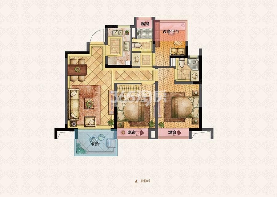 荣里89㎡三室两厅B3户型图