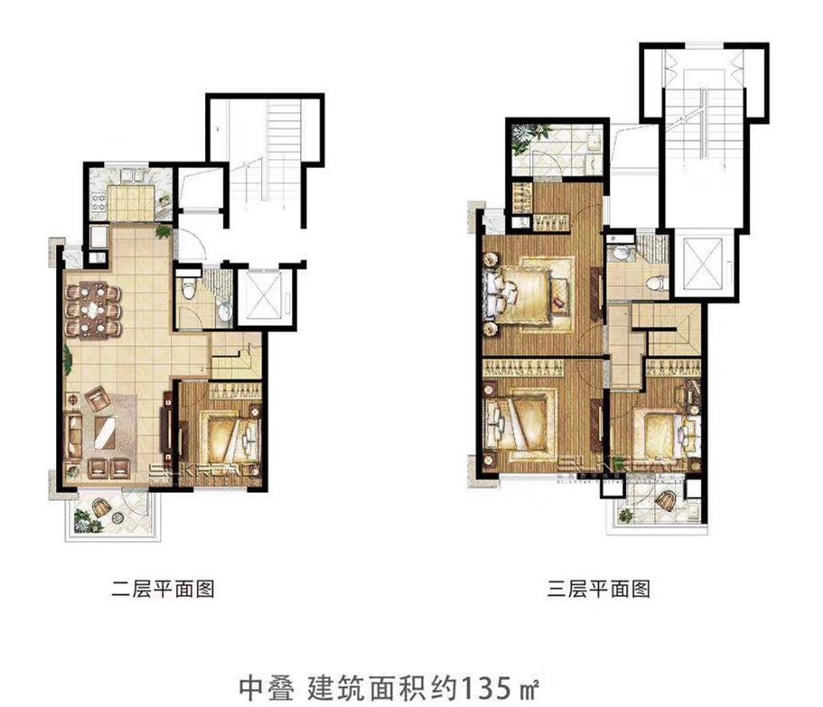 悦风华中叠户型图135㎡(2、3F)