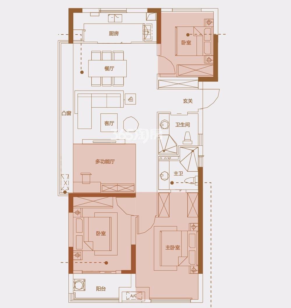 安建翰林天筑125㎡E户型三室两厅